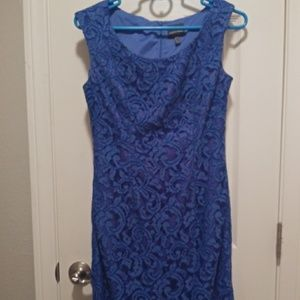 Adrianna Papell blue lace dress
